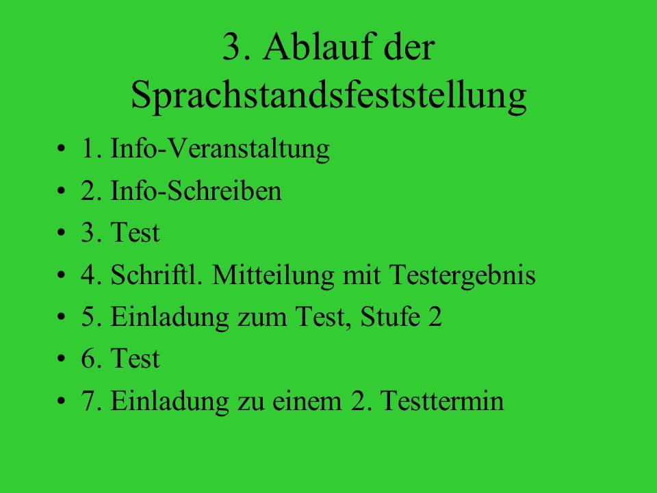 3.Ablauf der Sprachstandsfeststellung 1. Info-Veranstaltung 2.