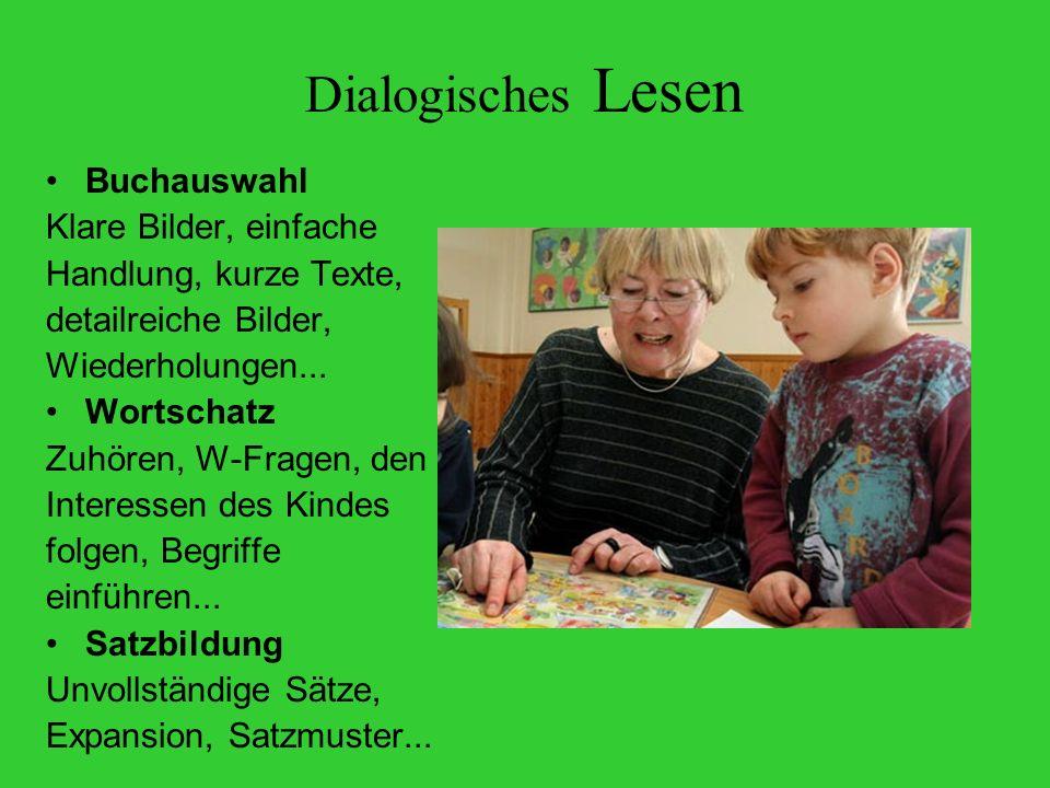 Dialogisches Lesen Buchauswahl Klare Bilder, einfache Handlung, kurze Texte, detailreiche Bilder, Wiederholungen...
