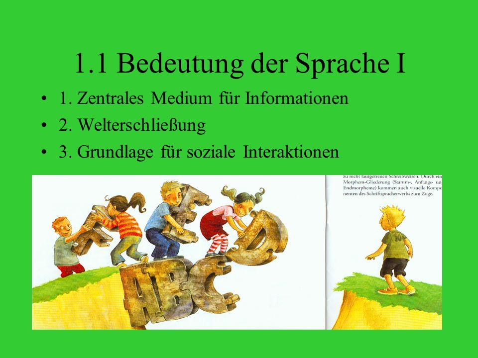 1.1 Bedeutung der Sprache I 1.Zentrales Medium für Informationen 2.