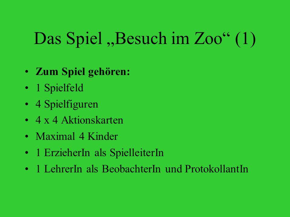 Das Spiel Besuch im Zoo (1) Zum Spiel gehören: 1 Spielfeld 4 Spielfiguren 4 x 4 Aktionskarten Maximal 4 Kinder 1 ErzieherIn als SpielleiterIn 1 LehrerIn als BeobachterIn und ProtokollantIn