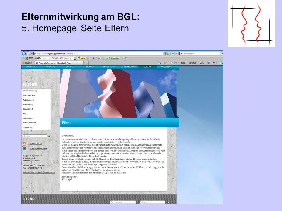 Elternmitwirkung am BGL: 5. Homepage Seite Eltern