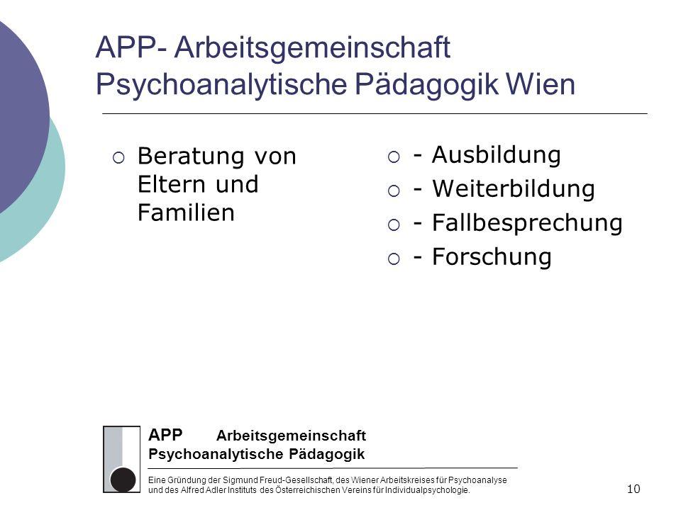APP Arbeitsgemeinschaft Psychoanalytische Pädagogik Eine Gründung der Sigmund Freud-Gesellschaft, des Wiener Arbeitskreises für Psychoanalyse und des