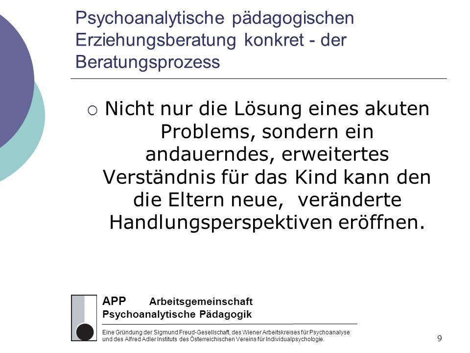 APP Arbeitsgemeinschaft Psychoanalytische Pädagogik Eine Gründung der Sigmund Freud-Gesellschaft, des Wiener Arbeitskreises für Psychoanalyse und des Alfred Adler Instituts des Österreichischen Vereins für Individualpsychologie.