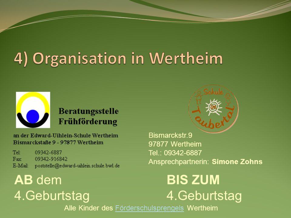 AB dem 4.Geburtstag BIS ZUM 4.Geburtstag Alle Kinder des Förderschulsprengels WertheimFörderschulsprengels Bismarckstr.9 97877 Wertheim Tel.: 09342-68