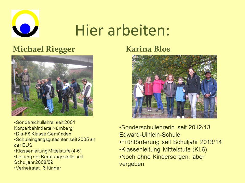 Hier arbeiten: Michael Riegger Karina Blos Sonderschullehrer seit 2001 Körperbehinderte Nürnberg Dia-Fö Klasse Gemünden Schuleingangsgutachten seit 20