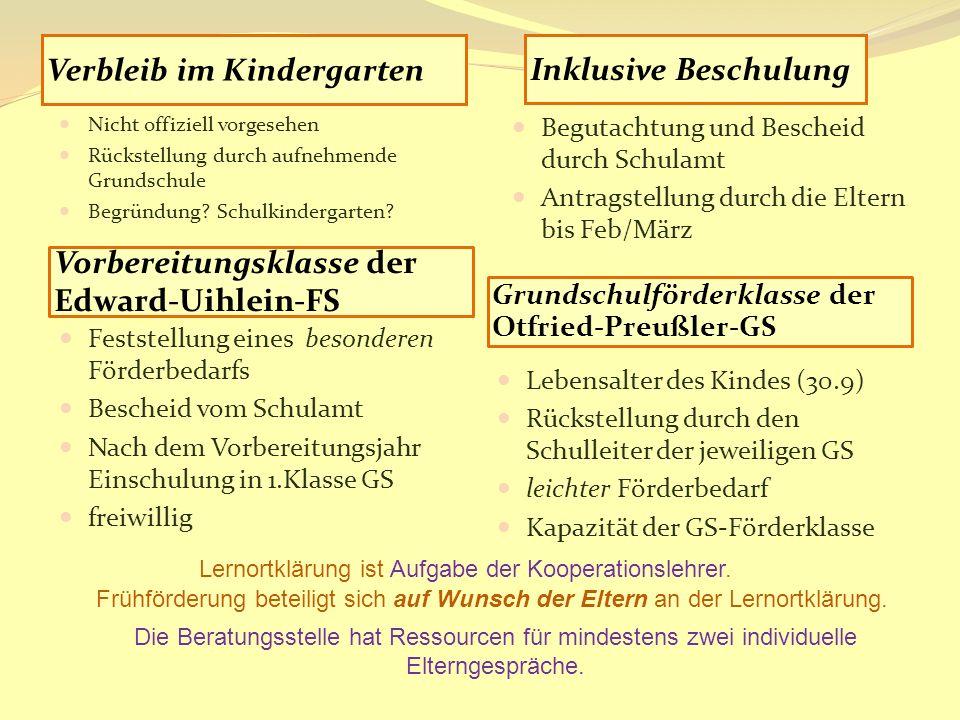 Vorbereitungsklasse der Edward-Uihlein-FS Grundschulförderklasse der Otfried-Preußler-GS Feststellung eines besonderen Förderbedarfs Bescheid vom Schu