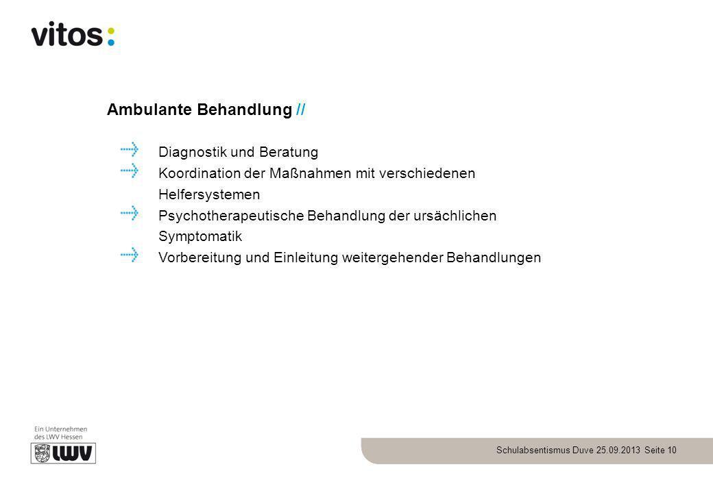 Schulabsentismus Duve 25.09.2013 Seite 10 Ambulante Behandlung // Diagnostik und Beratung Koordination der Maßnahmen mit verschiedenen Helfersystemen