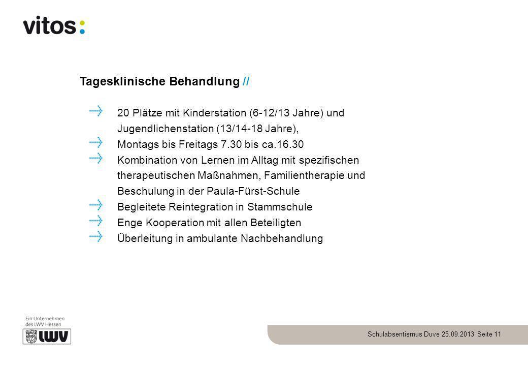 Schulabsentismus Duve 25.09.2013 Seite 11 Tagesklinische Behandlung // 20 Plätze mit Kinderstation (6-12/13 Jahre) und Jugendlichenstation (13/14-18 J