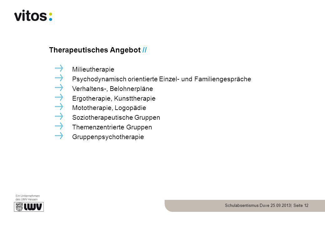 Schulabsentismus Duve 25.09.2013| Seite 12 Therapeutisches Angebot // Milieutherapie Psychodynamisch orientierte Einzel- und Familiengespräche Verhalt