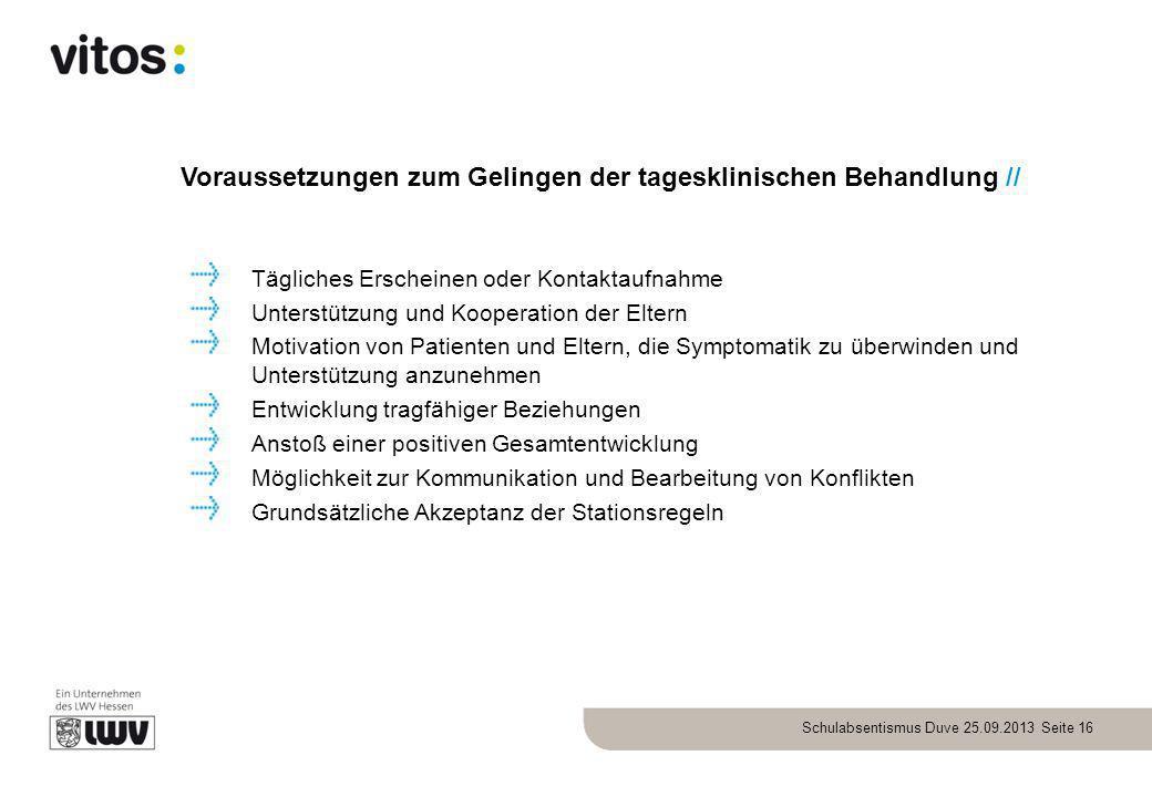 Schulabsentismus Duve 25.09.2013 Seite 16 Voraussetzungen zum Gelingen der tagesklinischen Behandlung // Tägliches Erscheinen oder Kontaktaufnahme Unt
