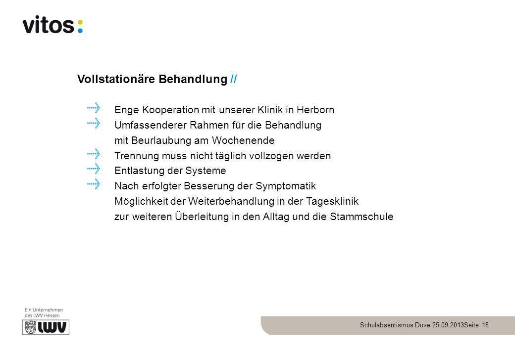 Schulabsentismus Duve 25.09.2013Seite 18 Vollstationäre Behandlung // Enge Kooperation mit unserer Klinik in Herborn Umfassenderer Rahmen für die Beha