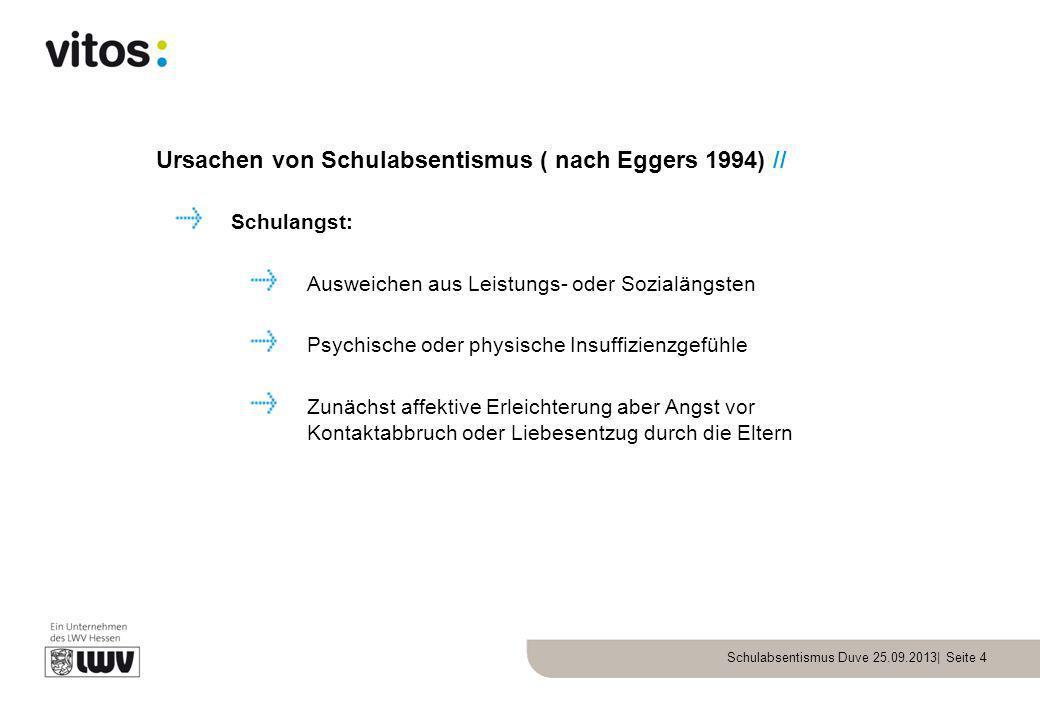 Schulabsentismus Duve 25.09.2013| Seite 4 Ursachen von Schulabsentismus ( nach Eggers 1994) // Schulangst: Ausweichen aus Leistungs- oder Sozialängste