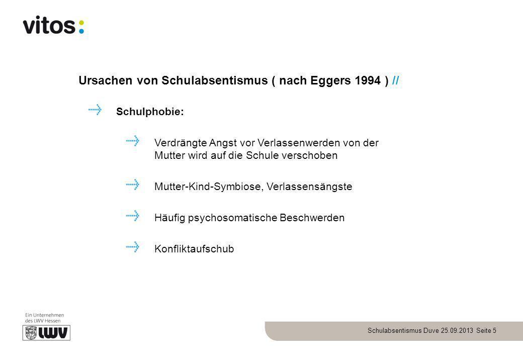 Schulabsentismus Duve 25.09.2013 Seite 5 Ursachen von Schulabsentismus ( nach Eggers 1994 ) // Schulphobie: Verdrängte Angst vor Verlassenwerden von d