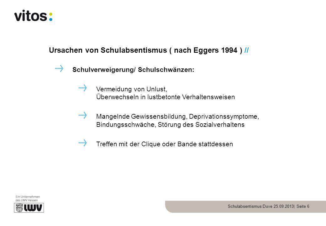 Schulabsentismus Duve 25.09.2013| Seite 6 Ursachen von Schulabsentismus ( nach Eggers 1994 ) // Schulverweigerung/ Schulschwänzen: Vermeidung von Unlu