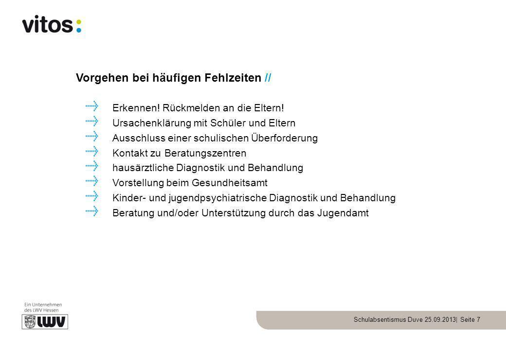 Schulabsentismus Duve 25.09.2013| Seite 7 Vorgehen bei häufigen Fehlzeiten // Erkennen! Rückmelden an die Eltern! Ursachenklärung mit Schüler und Elte