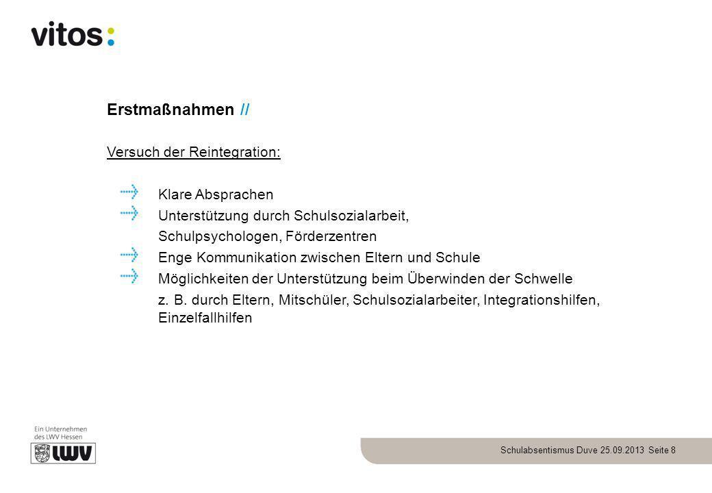 Schulabsentismus Duve 25.09.2013 Seite 8 Erstmaßnahmen // Versuch der Reintegration: Klare Absprachen Unterstützung durch Schulsozialarbeit, Schulpsyc