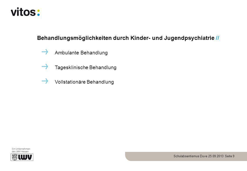Schulabsentismus Duve 25.09.2013 Seite 9 Behandlungsmöglichkeiten durch Kinder- und Jugendpsychiatrie // Ambulante Behandlung Tagesklinische Behandlun
