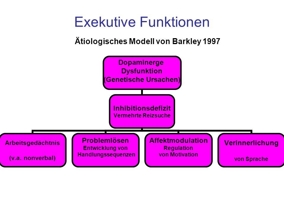 Exekutive Funktionen Dopaminerge Dysfunktion (Genetische Ursachen) Inhibitionsdefizit Vermehrte Reizsuche Arbeitsgedächtnis (v.a. nonverbal) Problemlö