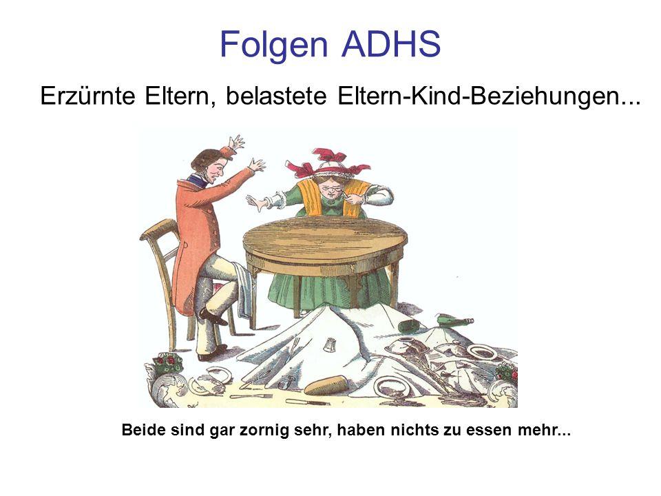 Folgen ADHS Erzürnte Eltern, belastete Eltern-Kind-Beziehungen... Beide sind gar zornig sehr, haben nichts zu essen mehr...