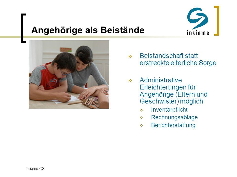Vertretung bei med. Behandlung Beistand Eventuell auch Eltern oder Geschwister insieme CS