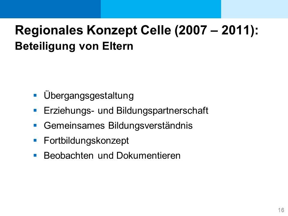 16 Regionales Konzept Celle (2007 – 2011): Beteiligung von Eltern Übergangsgestaltung Erziehungs- und Bildungspartnerschaft Gemeinsames Bildungsverstä