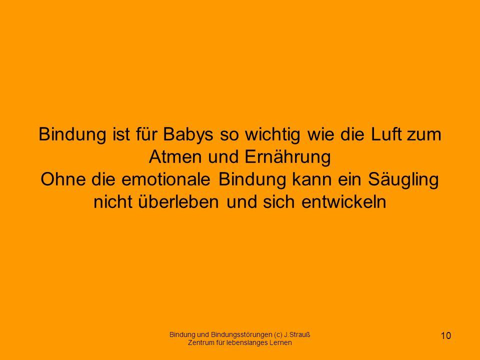 Bindung ist für Babys so wichtig wie die Luft zum Atmen und Ernährung Ohne die emotionale Bindung kann ein Säugling nicht überleben und sich entwickel