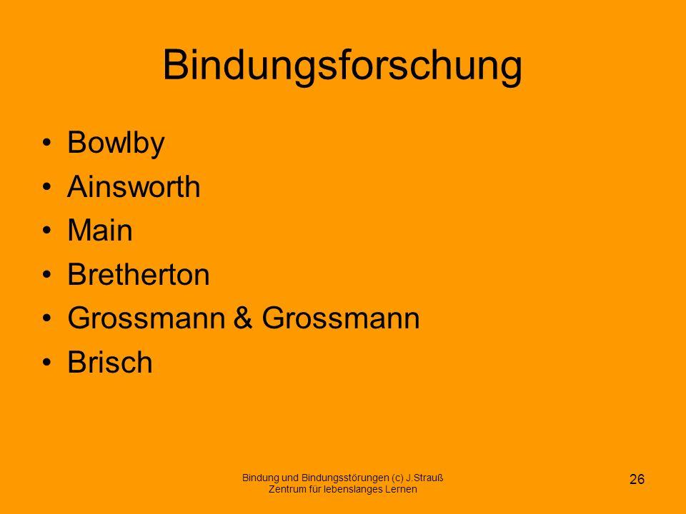 Bindungsforschung Bowlby Ainsworth Main Bretherton Grossmann & Grossmann Brisch Bindung und Bindungsstörungen (c) J.Strauß Zentrum für lebenslanges Le