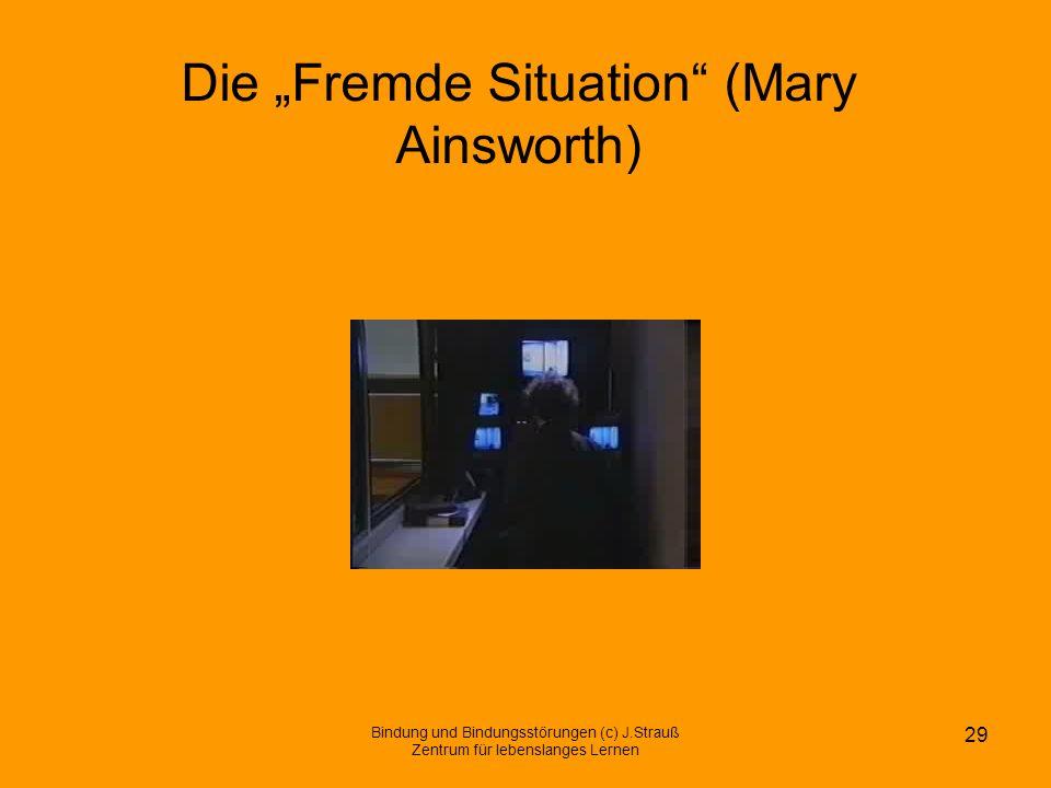 Die Fremde Situation (Mary Ainsworth) Bindung und Bindungsstörungen (c) J.Strauß Zentrum für lebenslanges Lernen 29