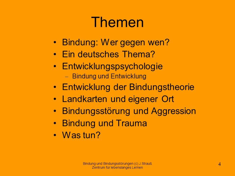 Themen Bindung: Wer gegen wen? Ein deutsches Thema? Entwicklungspsychologie Bindung und Entwicklung Entwicklung der Bindungstheorie Landkarten und eig