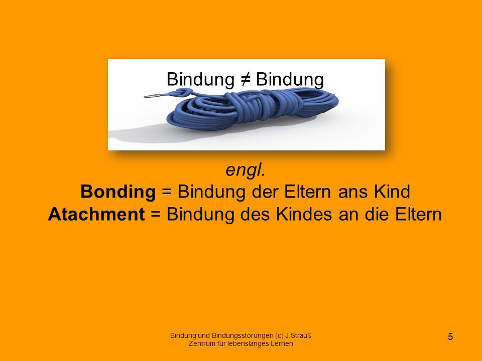 Bindung Bindung engl. Bonding = Bindung der Eltern ans Kind Atachment = Bindung des Kindes an die Eltern Bindung und Bindungsstörungen (c) J.Strauß Ze