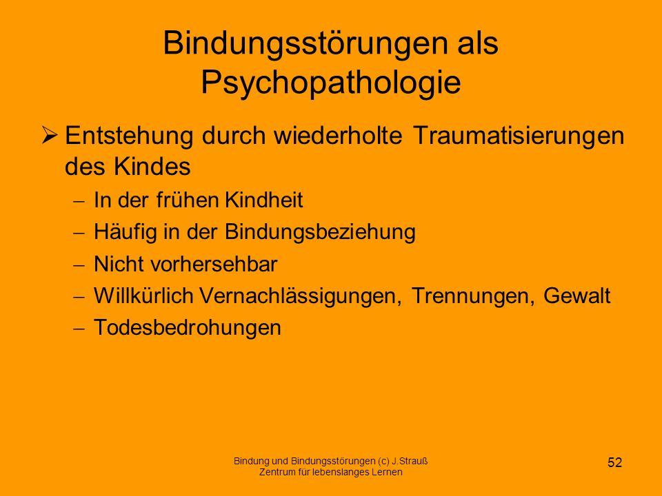Bindungsstörungen als Psychopathologie Entstehung durch wiederholte Traumatisierungen des Kindes In der frühen Kindheit Häufig in der Bindungsbeziehun