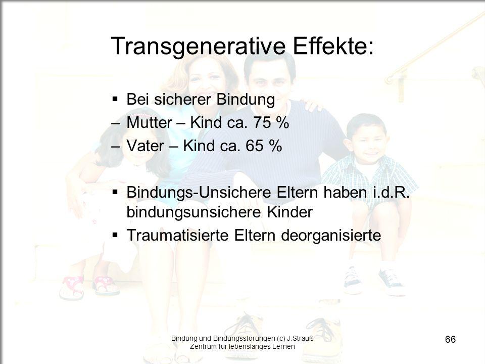 Transgenerative Effekte: Bei sicherer Bindung –Mutter – Kind ca. 75 % –Vater – Kind ca. 65 % Bindungs-Unsichere Eltern haben i.d.R. bindungsunsichere