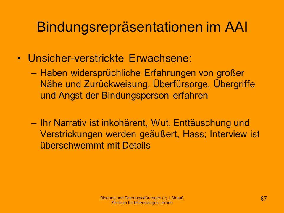 Bindungsrepräsentationen im AAI Unsicher-verstrickte Erwachsene: –Haben widersprüchliche Erfahrungen von großer Nähe und Zurückweisung, Überfürsorge,