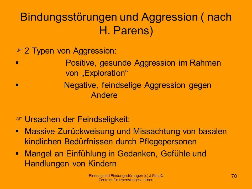 Bindungsstörungen und Aggression ( nach H. Parens) 2 Typen von Aggression: Positive, gesunde Aggression im Rahmen von Exploration Negative, feindselig