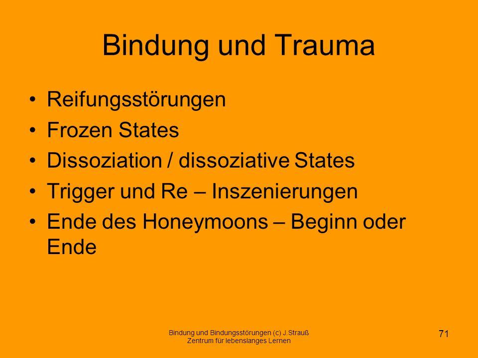 Bindung und Trauma Reifungsstörungen Frozen States Dissoziation / dissoziative States Trigger und Re – Inszenierungen Ende des Honeymoons – Beginn ode