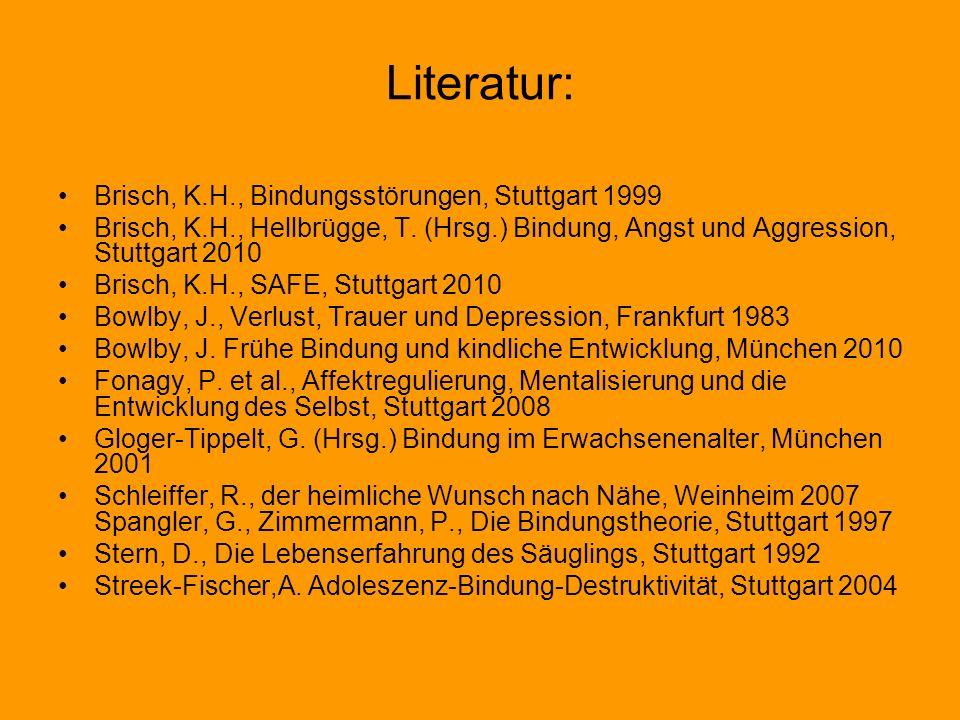 Literatur: Brisch, K.H., Bindungsstörungen, Stuttgart 1999 Brisch, K.H., Hellbrügge, T. (Hrsg.) Bindung, Angst und Aggression, Stuttgart 2010 Brisch,