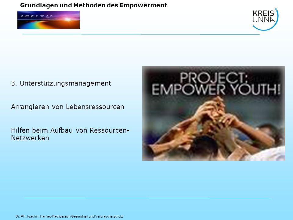Dr. PH Joachim Hartlieb Fachbereich Gesundheit und Verbraucherschutz Grundlagen und Methoden des Empowerment 3. Unterstützungsmanagement Arrangieren v