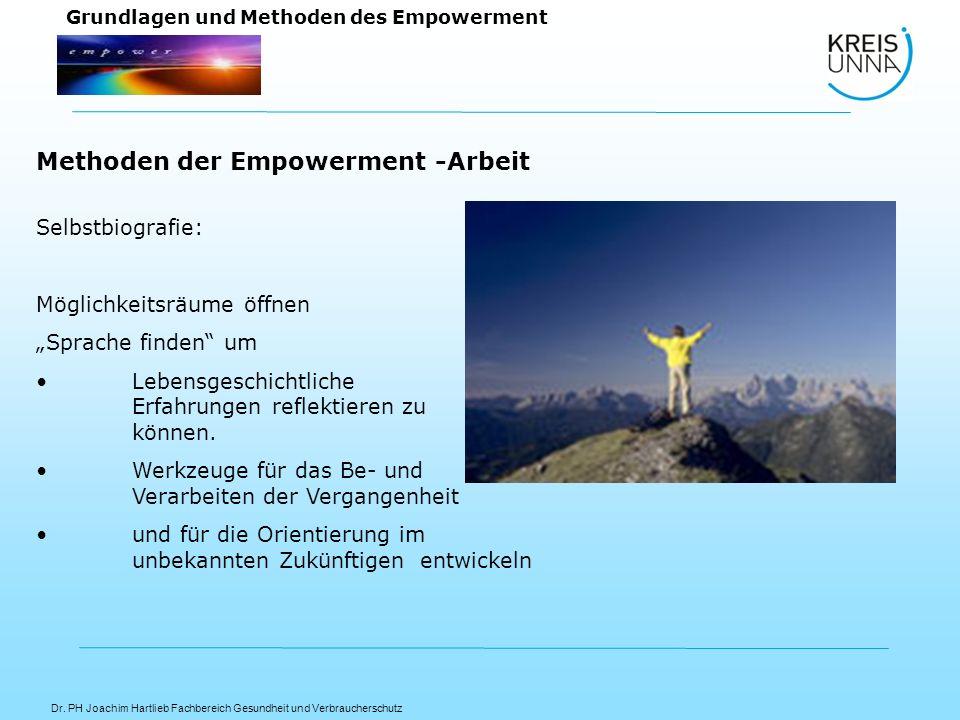 Dr. PH Joachim Hartlieb Fachbereich Gesundheit und Verbraucherschutz Grundlagen und Methoden des Empowerment Selbstbiografie: Möglichkeitsräume öffnen
