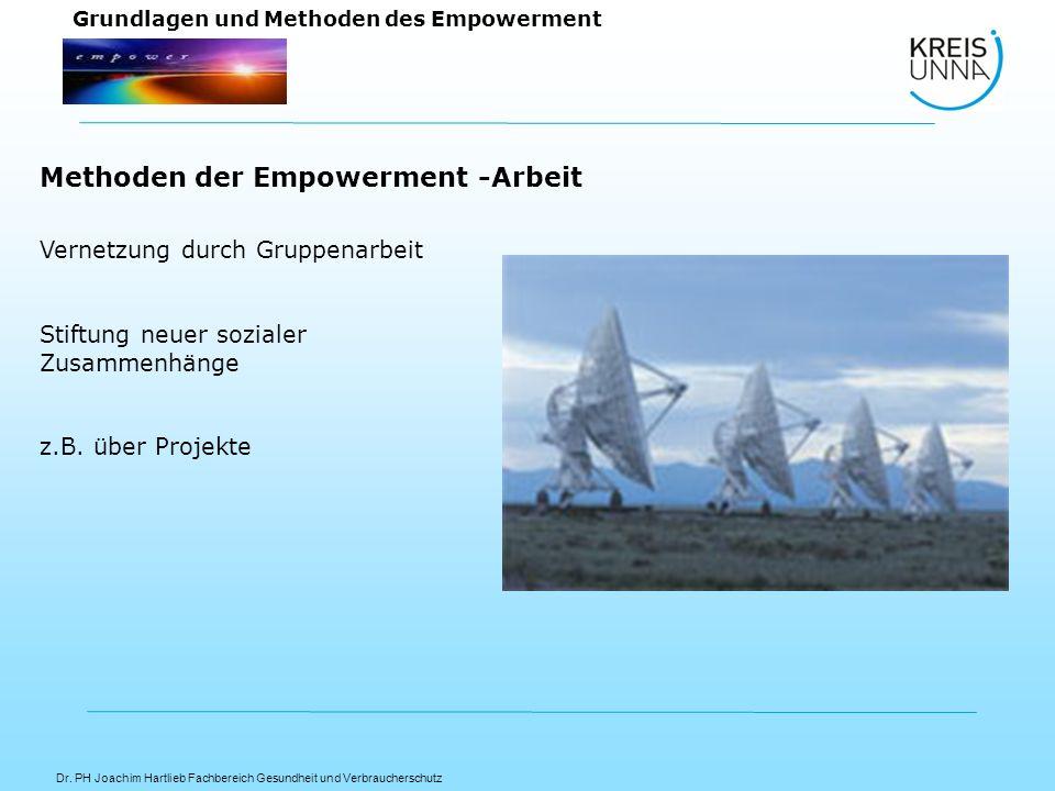 Dr. PH Joachim Hartlieb Fachbereich Gesundheit und Verbraucherschutz Grundlagen und Methoden des Empowerment Vernetzung durch Gruppenarbeit Stiftung n