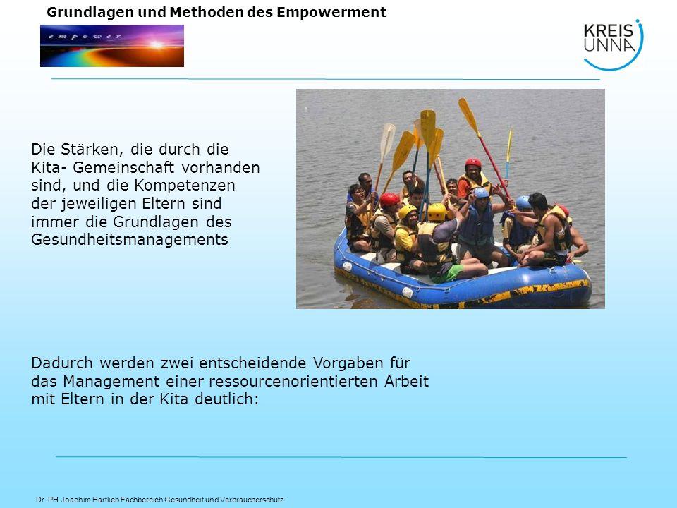 Dr. PH Joachim Hartlieb Fachbereich Gesundheit und Verbraucherschutz Grundlagen und Methoden des Empowerment Die Stärken, die durch die Kita- Gemeinsc