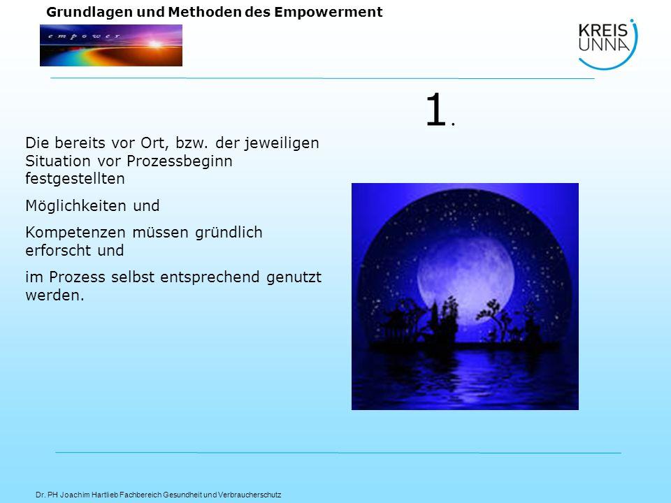 Dr. PH Joachim Hartlieb Fachbereich Gesundheit und Verbraucherschutz Grundlagen und Methoden des Empowerment Die bereits vor Ort, bzw. der jeweiligen