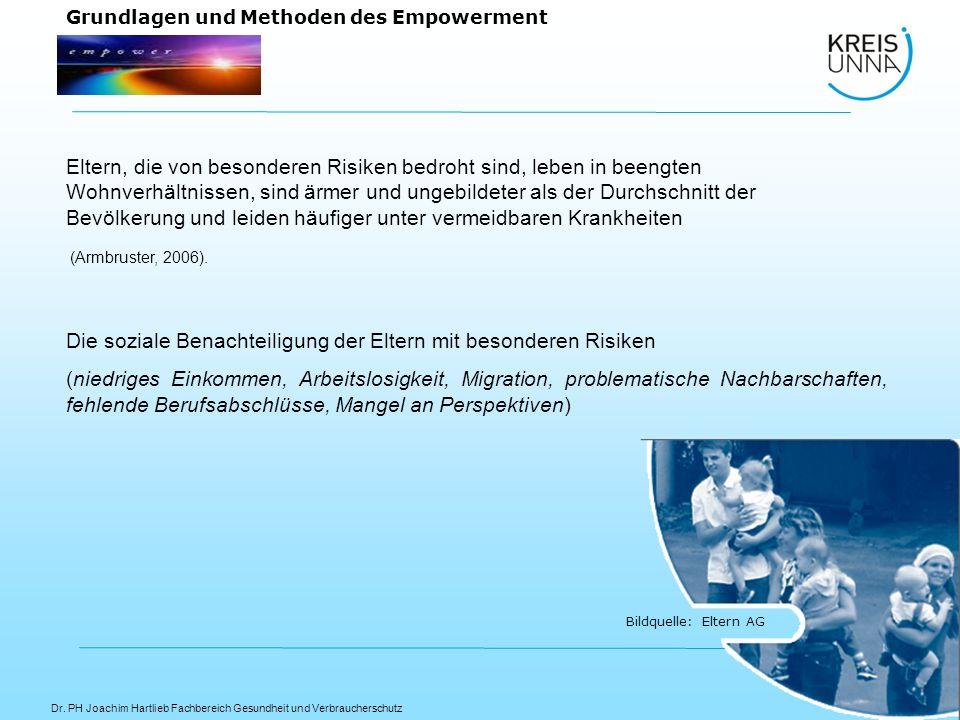 Dr. PH Joachim Hartlieb Fachbereich Gesundheit und Verbraucherschutz Bildquelle: Eltern AG Grundlagen und Methoden des Empowerment Eltern, die von bes