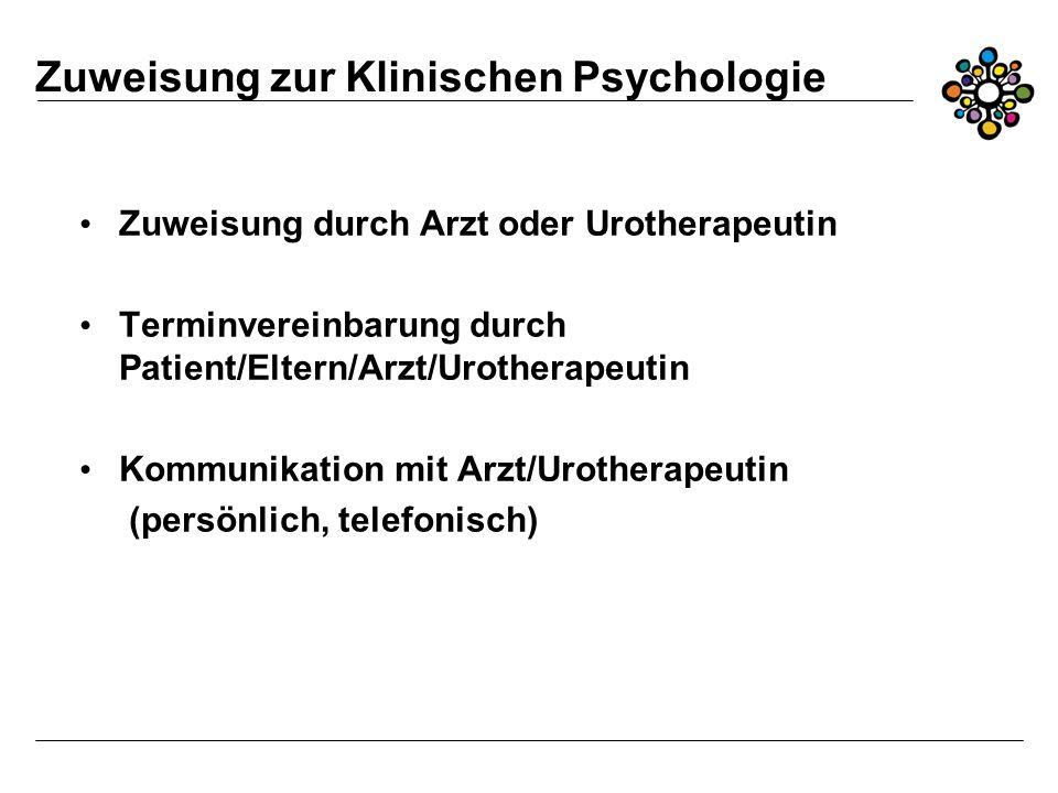 Zuweisung zur Klinischen Psychologie Zuweisung durch Arzt oder Urotherapeutin Terminvereinbarung durch Patient/Eltern/Arzt/Urotherapeutin Kommunikation mit Arzt/Urotherapeutin (persönlich, telefonisch)