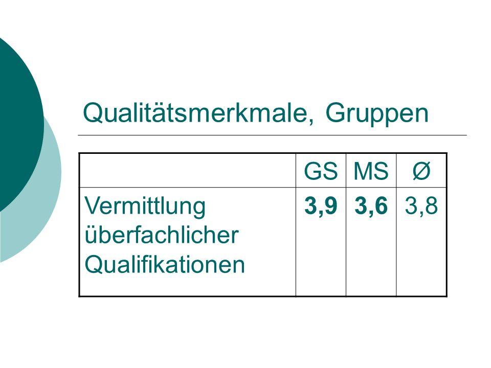 Qualitätsmerkmale, Gruppen GSMSØ Vermittlung überfachlicher Qualifikationen 3,93,63,8