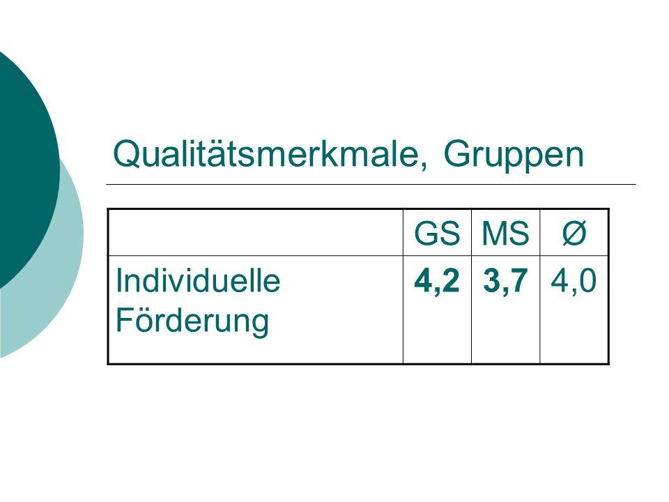 Qualitätsmerkmale, Gruppen GSMSØ Individuelle Förderung 4,23,74,0