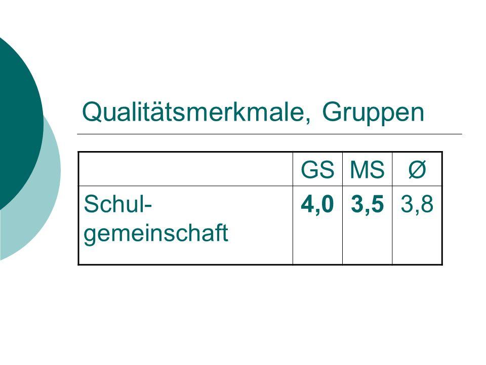 Qualitätsmerkmale, Gruppen GSMSØ Schul- gemeinschaft 4,03,53,8
