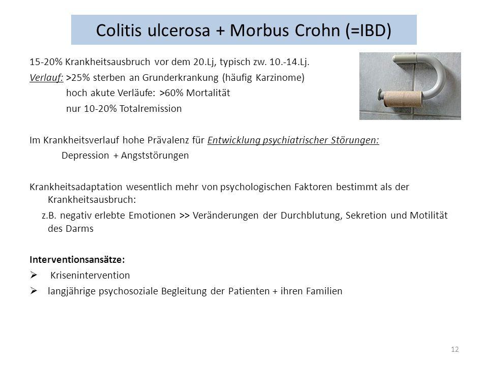Colitis ulcerosa + Morbus Crohn (=IBD) 15-20% Krankheitsausbruch vor dem 20.Lj, typisch zw. 10.-14.Lj. Verlauf: >25% sterben an Grunderkrankung (häufi