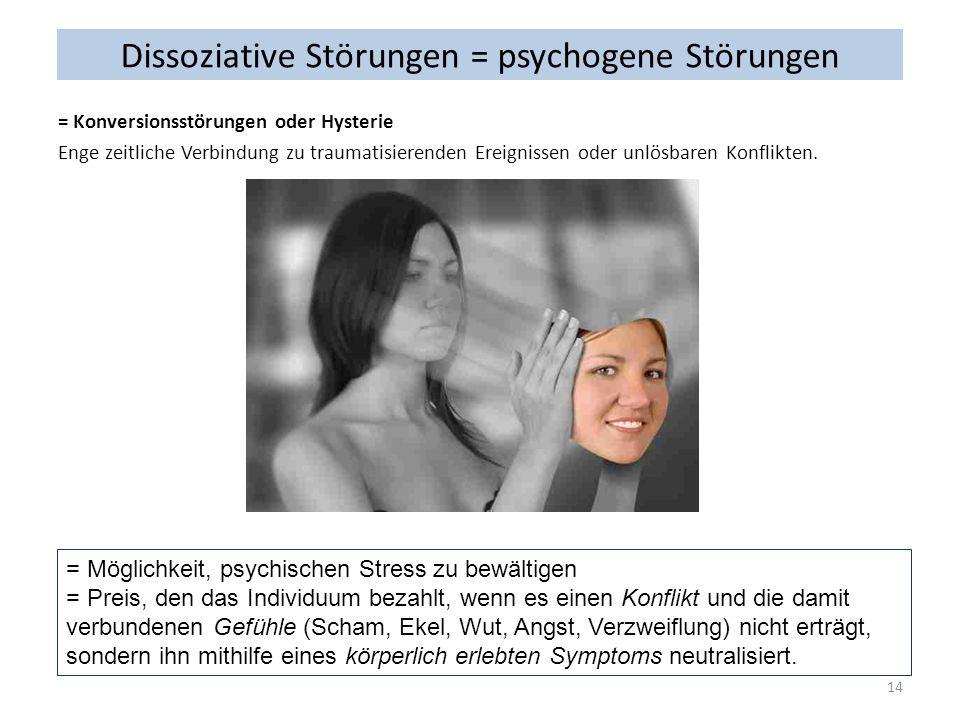 Dissoziative Störungen = psychogene Störungen = Konversionsstörungen oder Hysterie Enge zeitliche Verbindung zu traumatisierenden Ereignissen oder unl