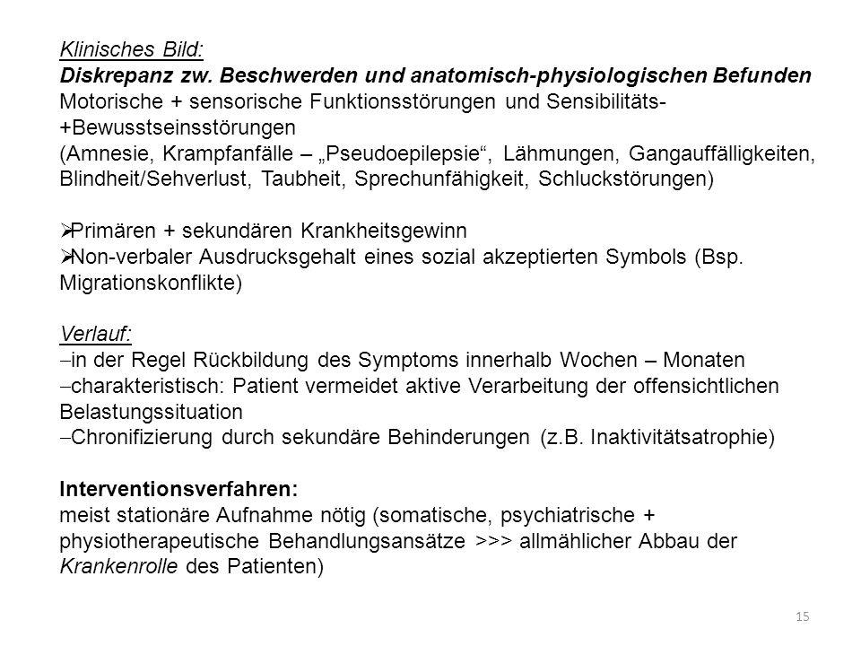 Klinisches Bild: Diskrepanz zw. Beschwerden und anatomisch-physiologischen Befunden Motorische + sensorische Funktionsstörungen und Sensibilitäts- +Be