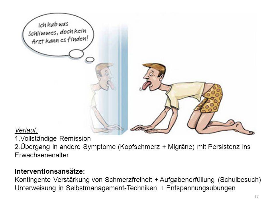 Verlauf: 1.Vollständige Remission 2.Übergang in andere Symptome (Kopfschmerz + Migräne) mit Persistenz ins Erwachsenenalter Interventionsansätze: Kont
